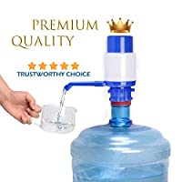 Water Bottles Pump Blue Manual Hand Pressure Drinking Fountain Pressure Pump Water Press Pump with an Extra Short Tube and Cap Fits Most 2-6 Gallon Water Coolers