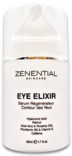 Eye Elixir Serum for Wrinkles Dark Circles, Eye Bags, Puffiness and Crow's Feet - 50ml - Hyaluronic Acid, Retinol, Aloe Vera Oil, Rosehip Oil, Provit. B5, Vit. E and Zenential Organic Lift