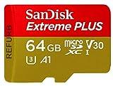 Carte Mémoire MicroSDXC SanDisk Extreme PLUS 64 Go + Adaptateur SD jusquà 100 Mo/s,...