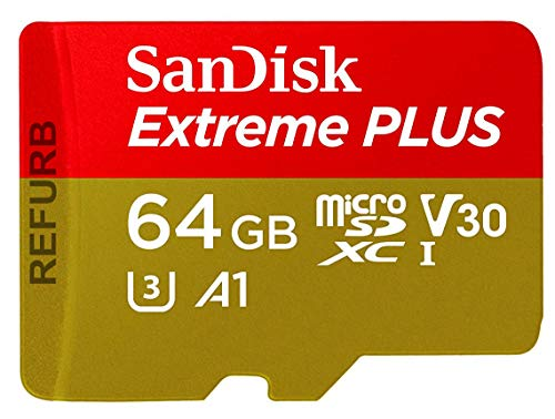 SanDisk Extreme Plus 64GB MicroSDXC Speicherkarte + SD-Adapter bis zu 100MB/s, Klasse 10, U3, V30, A1 (Refurbished) (Karte Gb Ultra Sd Micro 64 Plus)