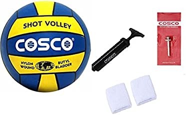 ARFA Combo of Cosco Shot Volleyball and Air Pump with Pin and 2 Wrist Band (Yellow and Blue, Cosco Shot-Volley Voleyball and Cosco Ai)