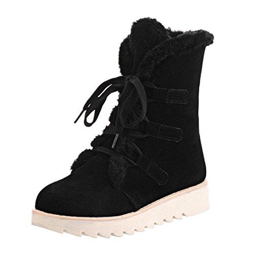 ENMAYER Femmes Suede Soft Cute Women Bottes de neige Round Toe Flat avec Winter Fur Ankle Boots Noir