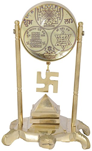 Vibgyor Vibes Brass Metal Vaastu/Fengshui Tortoise/Turtle Pillar (For Good Luck) with InBuilt Shri Yantra, Shri Kuber Yantra and Shri Vyapar Vridhi Yantra, Godess Lakshmi, Swastika and Meru Yantra (Golden Colour)  available at amazon for Rs.600