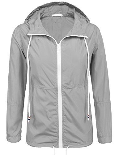 41Sj0jdeIEL - Damen Jacke Sommer Windbreaker Übergangsjacke Wasserabweisend Regenmantel Regenjacke mit Kapuze in 14 Farben