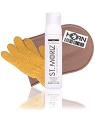 St Moriz Professional Self Tanning Mousse Dark 200ml, (Dark Mousse+ Applikator + Horn Medical Peelinghandschuh)