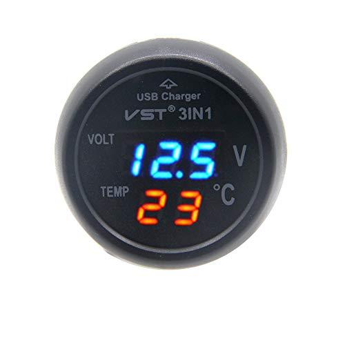 RKURCK - Cargador USB voltímetro termómetro