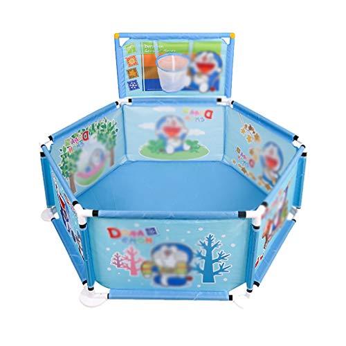WSY Spiel Zaun Indoor Kinder Zaun Hexagonal Sicherheits Zaun Familie Spielplatz Faltbare Kinder Zaun, Mit Spiel Basketballkorb (Color : Blue, Size : 129 * 129 * 83CM)