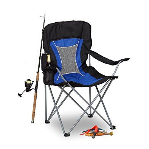 Relaxdays Silla Plegable Camping para Pesca y Festivales, Azul y Negro, 56x90x100 cm
