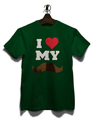 I Love My Mustache T-Shirt Dunkel Grün