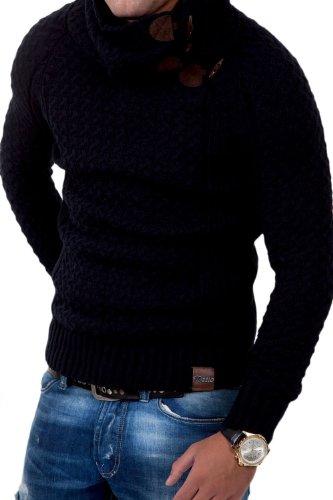 Tazzio pull en tricot col châle 3895 Noir