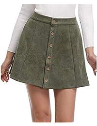 BeautyTop Jupe Femme Femmes Solides Vintage Suédine Bouton Taille Haute  Plaine A-Ligne EléGant Skater 50a4beae07f5