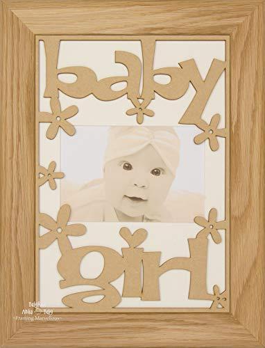 BabyRice Baby Girl Geschenk Holz Gestell massiv Eiche-Halterung Farbe wählen cremefarben -