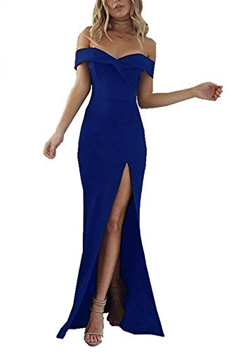 CoCo Fashion Damen Trägerlos Bustier Split Maxikleid Sexy Off Shoulder Langes Abendkleid Party Schulter Kleider, Blau, Gr. L/38