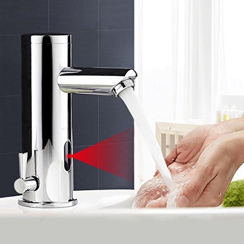 BONADE IR Infrarot Automatik Berhrungslose Infrarot-Sensor Kalt und Warmwasser Wasserhahn Einhebelmischer Waschtischbatterie Waschtischarmatur mit Schlauch Chrom