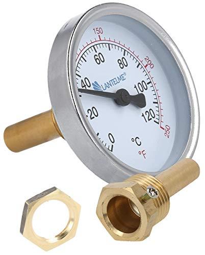 Lantelme Edelstahl Räucherthermometer inkl. Messing Befestigungsmutter Räucherofen Räucher Thermometer 0 bis 120 °C 7977