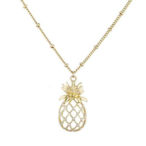 LUX Zubehör Gold Ton Ausschnitt Tropical Fruit Ananas Anhänger Halskette (Hippie Vintage-wrap)