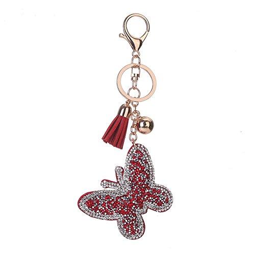 Llavero lleno del Rhinestone, Chickwin Llavero encantador del regalo del bolso del anillo de la mariposa de la mariposa de la manera de Chickwin (Rojo)