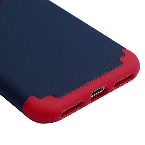 iPhone 7 Hülle iPhone 7 Case Kasos Premium Dual Layer Armor Stil PC Hardcase Flexibel TPU Silikon Case Cover Schutzhülle Handyhülle Tasche in Rot Dunkelblau Rot Dunkelblau