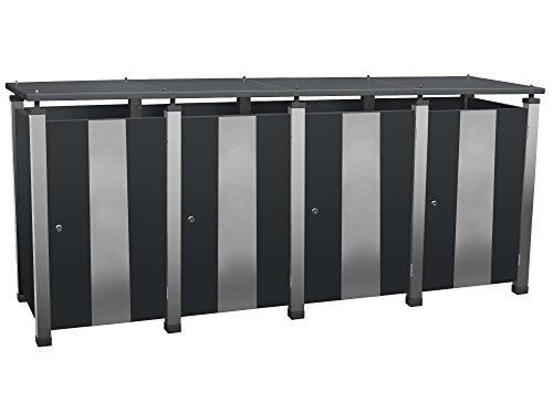 Abfalltonnenverkleidung Metall, Modell Pacco E Quad17 für vier 120 ltr. Tonnen