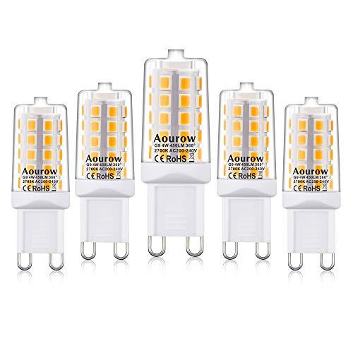 G9 LED Lampe Warmweiß 2700K, Aourow G9 LED Leuchtmittel 4W 450LM(Ersetzt 28W,33W,40W G9 Halogenlampe), Nicht Dimmbar, Kein Flackern, 360°Abstrahlwinkel, 5er Pack