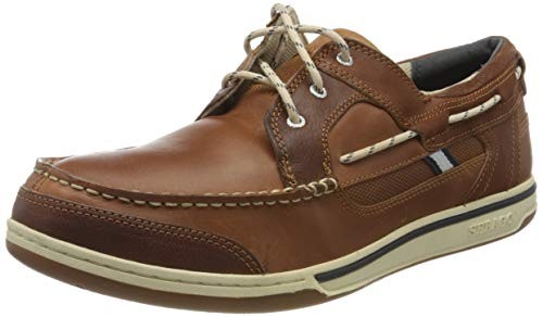 Sebago TRITON THREE EYE - Náuticos de cuero para hombre, Marrón BRITISH TAN/BROWN, 42 EU