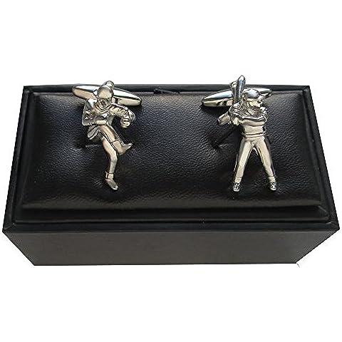 Gemelli argento lucido plus confezione regalo Baseball (Baseball Gioielleria)