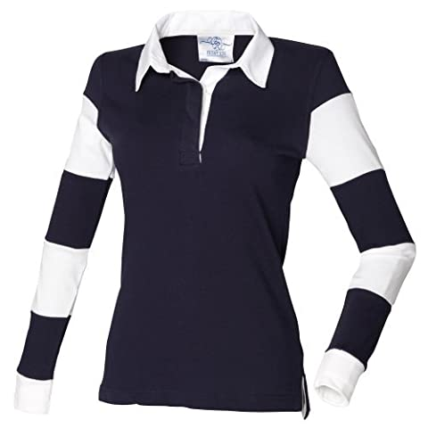 Front Row Womens/Ladies Striped Sleeve Sports Rugby Polo Shirt (M) (Navy/Navy/White)