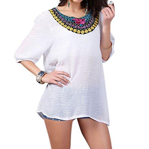 Honghu Damen Freizeit Retro Urlaub Wear Stickerei kurze Ärmel Sommer T-shirt Weiß