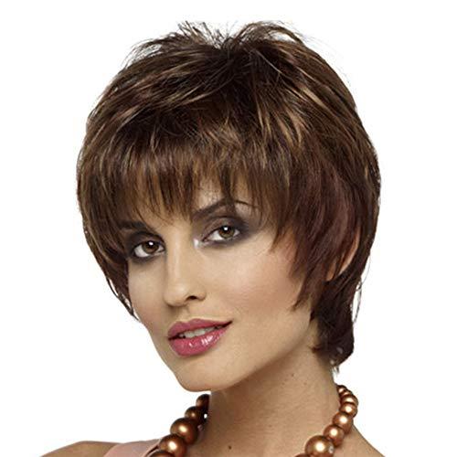 mit Pony für Frauen Flauschige Kurze lockige Haare Perücke synthetische volle hitzebeständige weibliche Perücken mit Perücke Kappe 10incn ()