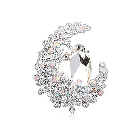 Anazoz Broche Fleur Lune Bijoux Fantaisie Blanc Cristal Autrichien-Broche