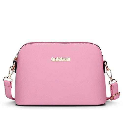 HQYSS Damen-handtaschen Frauen PU-lederner Schulter-Kurier-Beutel-feste Farben-Hochschulwind Crossbody Beutel-Shell-Beutel pink