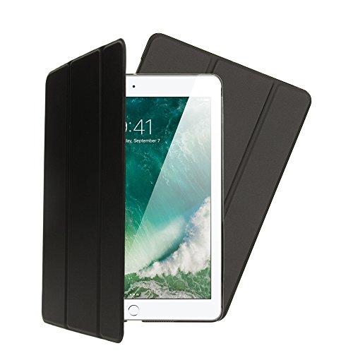 NALIA Smart-Case für Apple iPad 9,7\' 2017/2018, Ultra-Slim Dünne Tablet Schutzhülle, Kunst-Leder Hardcase Multi-Ständer Tasche, Display-Schutz Back-Cover Flip-Case Klapphülle, Farbe:Schwarz
