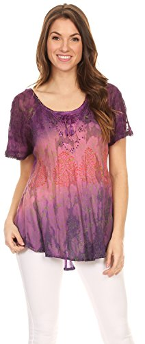 Sakkas Nayen Tie-Dye Cap Sheer Sleeve Agrémentée Relaxed Fit Drawstring Tunique Rose