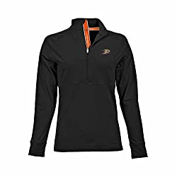 NHL Anaheim Ducks Women's Harmony Signature Script Half Zip, Large, Black