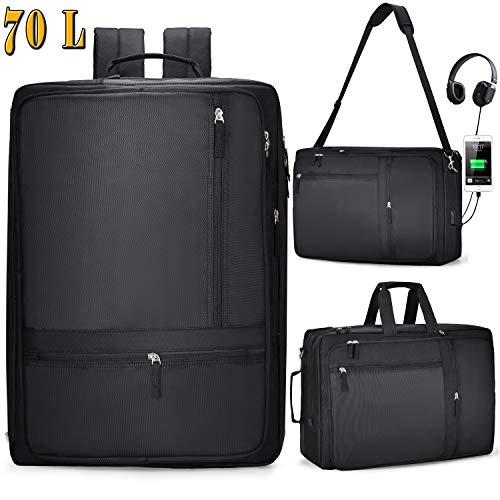 65L Großer Rucksack 18,4 Zoll Multifunktion Rucksack Messenger Bag Handtasche Reisen Wandern Rucksack Wasserdicht für Gaming Laptops Books für DEll ASUS MSI Hp 18.4 MSI Alienware 18.4 mit USB Anschlus