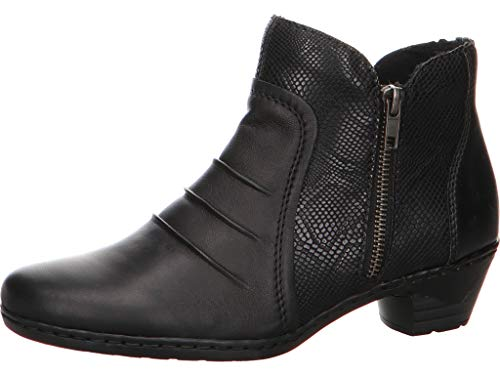 Rieker Damen Stiefeletten 7696 76962-00 schwarz 578002 Side Zip Wellington