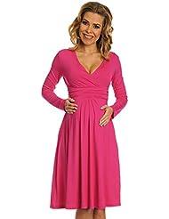 Happy Mama Femme. Robe de grossesse Manches longues. Robe à taille froncée. 890p
