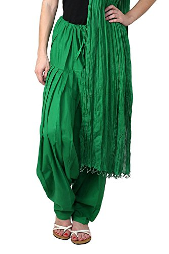 Kurti Studio Women Light Green Semi Patiala Salwar with Dupatta