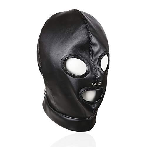 FIZZENN Full Face Maske Head Hood Kostüm Bondage Sex Toys Fetish Hood Black (Gimps Kostüm)