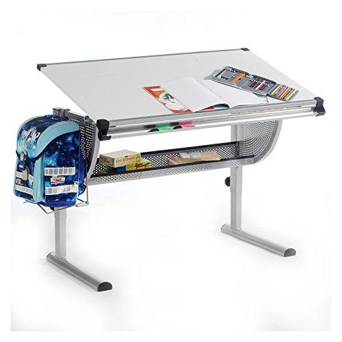 Kinderschreibtisch Schülerschreibtisch Zeichentisch Pult MADS höhen- und neigungsverstellbar, weiß, stabiles Metallgestell -