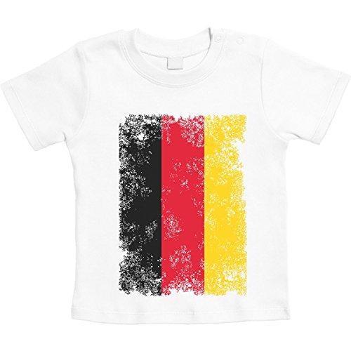 Shirtgeil bandiera tedesca vintage -coppa del mondo fan germania maglietta neonato unisex 3-6 mesi bianco