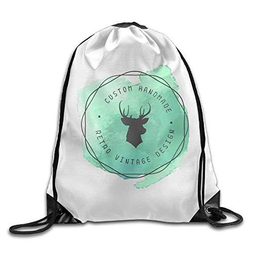 4df32dbfeb10 Outdoor Sports Team Drawstring Bag Gym Bags Casual Daypacks - (Custom Deer  Green)