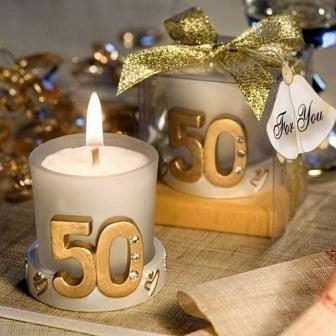 Lot of 10 Wedding Candles 50º Anniversary Gift Box - GOLD Wedding