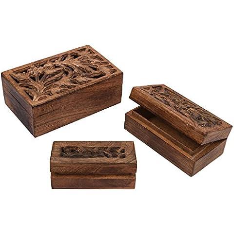 Store Indya, Conjunto de 3 Sostenedor de madera de Jali trabajo de joyeria cajas de recuerdo del recuerdo de almacenamiento Organizador multifuncional hechas a mano en el pecho