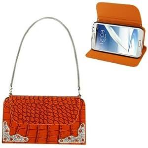 Coque Diamond Samsung Galaxy Note 2 Nacarat Wallet Style Crocodile Texture