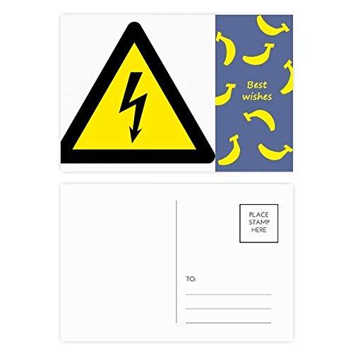 Warnsymbol, gelb, schwarz, elektrischer Schock, Dreieck, Bananen-Postkarten-Set, Danksagungskarte, Versandseite 20 Stück - Banane Elektrische