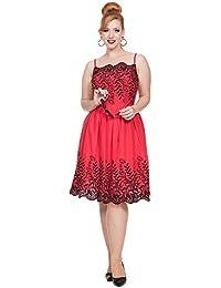 Voodoo Vixen Scarlett Robe Soirée Elégante Bretelle Fines (Rouge Noir)