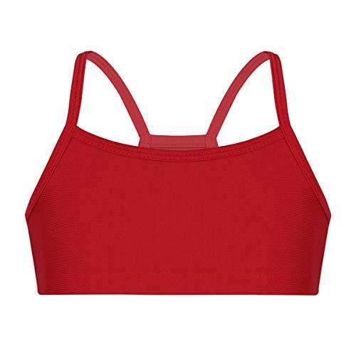 iiniim Kinder Mädchen Sport BH Crop Top Bustier Elastisches Unterhemd Gym Yoga Fitness Sport Bra Unterwäsche Gr.98-152 Rot 140-152/10-12Jahre