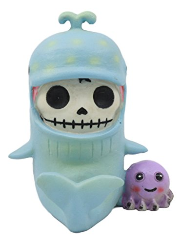 Ebros Furry Bones Sea World Moby Dick der Wal Kostüm Skelett Monster mit Lila Octopus Collectible Figur 8,3 cm H