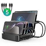 seenda USB-Ladestation, 5-Port 50W Ladestation für mehrere Geräte, kompatibel mit Handy, Tablet und Anderen USB-Geräten (2 USB-C und 3 Standard Micro USB Ladekabel inklusive)